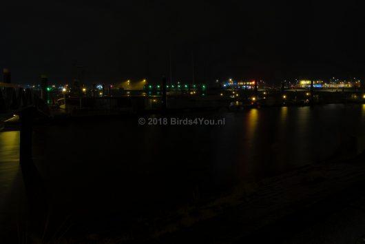Lauwersoog haven in de nacht