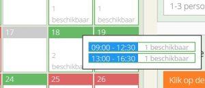 Boekingskalender Selecteer dag