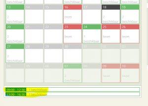 Boekingskalender Selecteer dagdeel