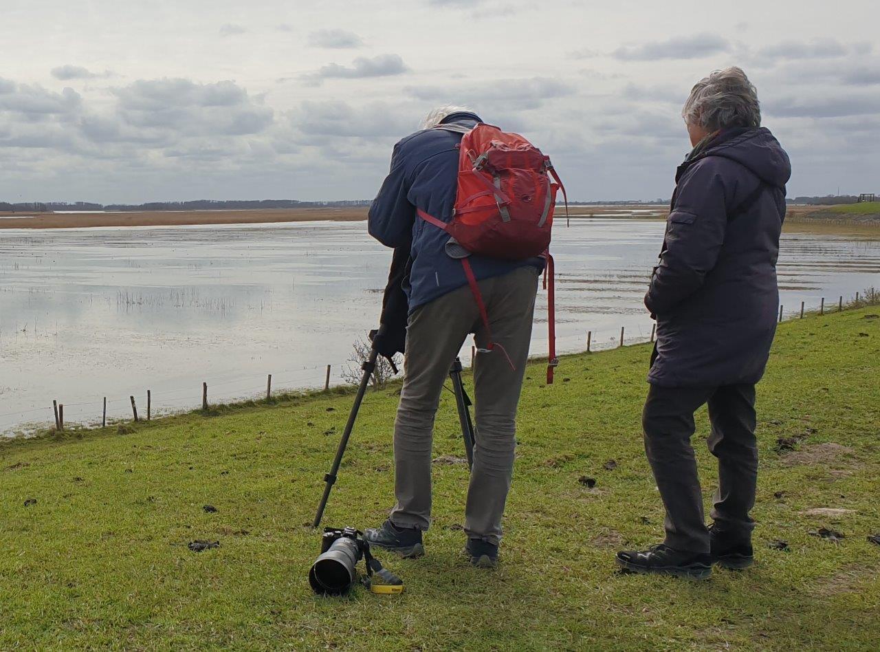 Vogelexcursie Deelnemers genieten van het uitzicht